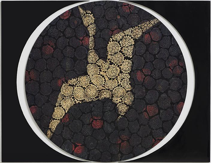 מאשה זוסמן, ללא כותרת, עט כדורי וצבע תעשייתי על עץ, 122X155, 2013